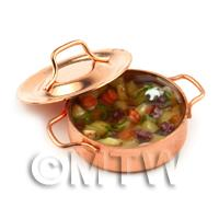 Dolls House Miniature Beef Casserole In A Metal Pot