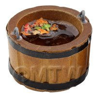 Dolls House Miniature Large Wooden Bucket / Churn Filled With Water