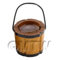 Dolls House Small Wooden Bucket With Metal Handle Filled With Water