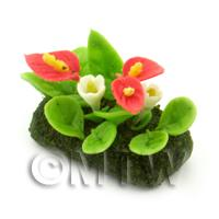 Dolls House Miniature Flower Bed Anthurium