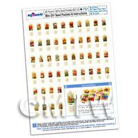 48 Dolls House Miniature Flower Seed Packets A4 Value Sheet Set 2