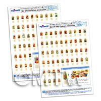 96 Dolls House Flower Seed Packets 2x A4 Value Sheets Complete Set