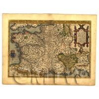 Dolls House Miniature - Dolls House Miniature Old Map Of France From The Late 1500s