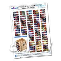 Dolls House Complete Set of 77 Slim Tomato Crate Labels A4 Value Sheet