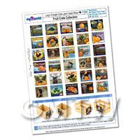 Dolls House Complete Set of 30 Large Orange Crate Labels A4 Value Sheet