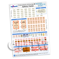 Dolls House Full Set of 193 Apothecary / Chemists Labels A4 Value Sheet