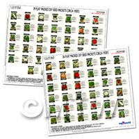 Full Set of 75 Dolls House Miniature Vegetable Seed Packets