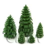 Dolls House Miniature Set of 5 Green Trees
