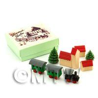 Dolls House Miniature Wood Train and Village Scene