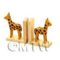 Pair Of Dolls House Miniature Giraffe Book Ends