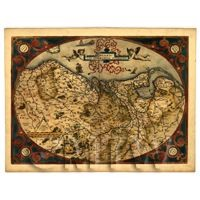 Dolls House Miniature Old Map Of Germania Inferior From The Late 1500s