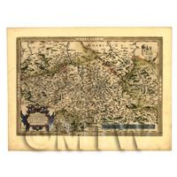 Dolls House Miniature Old Map Of German Regions From The Late 1500s