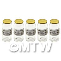 5 Miniature Glass Apothecary Bulk Storage Jars   Set 1/7