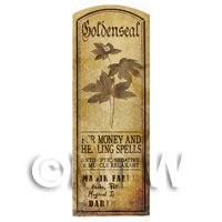 Dolls House Herbalist/Apothecary Goldenseal Plant Herb Long Sepia Label