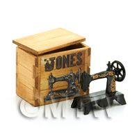 Miniature Metal Sewing Machine in a Jones Branded Wooden Crate