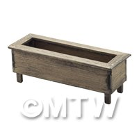 Dolls House Miniature Large Wooden Planter Aged