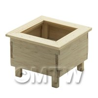 Dolls House Miniature Square Wooden Planter
