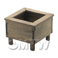 Dolls House Miniature Square Wooden Planter Aged