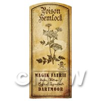 Dolls House Herbalist/Apothecary Hemlock Herb Short Sepia Label