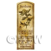 Dolls House Herbalist/Apothecary Henbane Herb Long Sepia Label