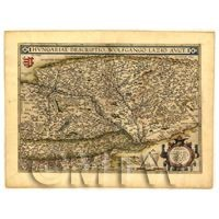 Dolls House Miniature Old Map Of Hungary From The Late 1500s