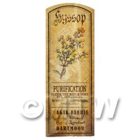 Dolls House Herbalist/Apothecary Hyssop Herb Long Colour Label