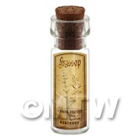 Dolls House Apothecary Hyssop Herb Short Sepia Label And Bottle