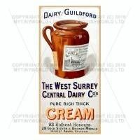 Dolls House Miniature West Surrey Dairy Shop Sign Circa 1915