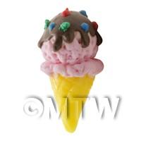 Dolls House Miniature Large Strawberry Chocolate Ice Cream Cone