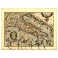 Dolls House Miniature Old Map Of Italy From The Late 1500s