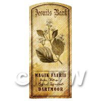 Dolls House Herbalist/Apothecary Jesuits Bark Herb Short Sepia Label