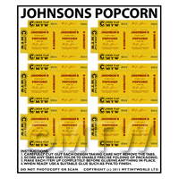 Dolls House Miniature Packaging Sheet of 6 Johnsons Popcorn