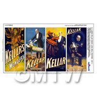 Dolls House Miniature Kellar Magic Poster - Set of 4 Long Posters