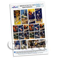 Dolls House Miniature Complete Set Kellar Magic Posters A4 Value Sheet