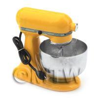 Deep Yellow Dolls House Miniature Old Style Batter / Dough Mixer