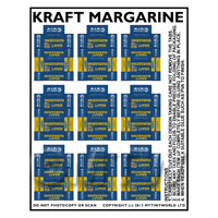 Dolls House Miniature Packaging Sheet of 9 Kraft Margarine