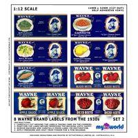 Set Of 8 Dolls House Miniature Wayne Brand Food Labels (1930s)