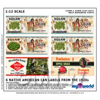 Set Of 6 Dolls House Miniature Native American Theme Labels (1920s)