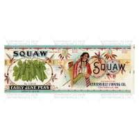 Dolls House Miniature Squaw Early June Peas Brand Label (1920s)