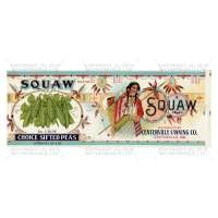 Dolls House Miniature Squaw Choice Sifted Pea Brand Label (1920s)