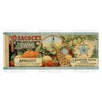 Dolls House Miniature Peacocks Apricot Jam Label (1890s)