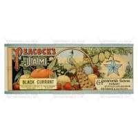 Dolls House Miniature Peacocks Black Current Jam Label (1890s)