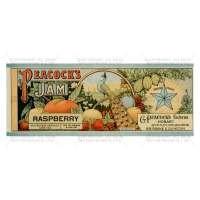 Dolls House Miniature Peacocks Raspberry Jam Label (1890s)