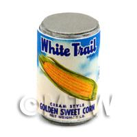 Dolls House Miniature White Trail Brand Sweet Corn Can (1940s)