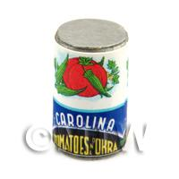 Dolls House Miniature Carolina Brand Tomatoes And Okra Can (1940s)