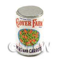 Dolls House Miniature Clover Farm Peas And Carrots Can (1920s)