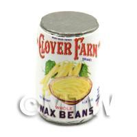 Dolls House Miniature Clover Farm Sliced Wax Beans Can (1920s)
