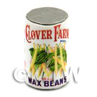 Dolls House Miniature Clover Farm Small Wax Beans Can (1920s)