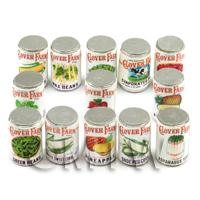 Set Of 13 Assorted Miniature Clover Farm Cans (1920s) - (CLS21)