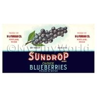 Dolls House Miniature Sundrop Blueberries Label (1920s)